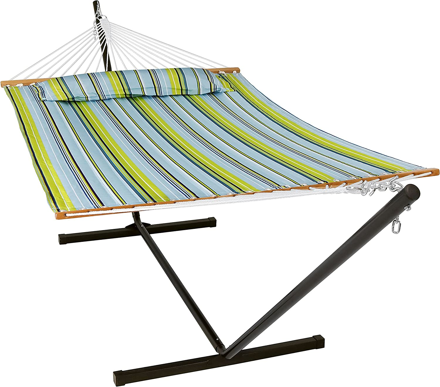 Sunnydaze 12 ft Steel Stand with Blue and Green Double Spreader Bar Hammock Combo Set