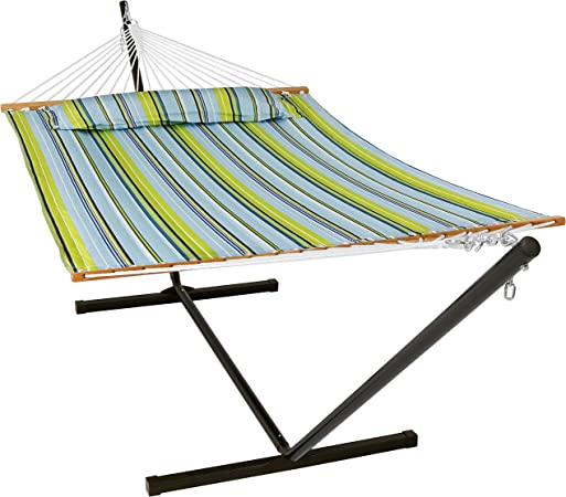 Outdoor Patio and Backyard Tidal Wave Sunnydaze 2 Person Quilted Fabric Hammock with Spreader Bars and Detachable Pillow 440 Pound Capacity