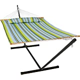 Sunnydaze Quilted Hammock with Stand 2 Person Heavy Duty - Double Hammock with 12 Foot Steel Stand for Backyard & Patio…
