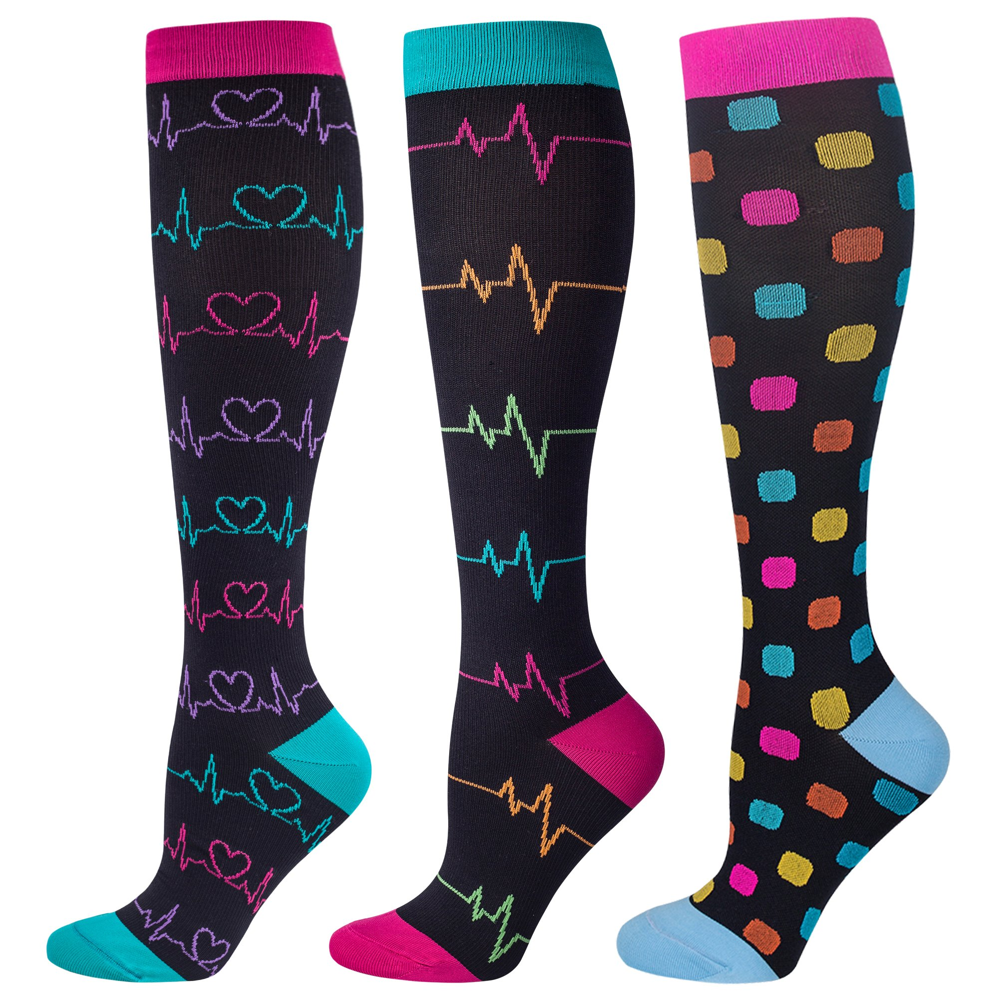 3 Pairs Compression Socks for Nurse(Women)|20-30mmHg Graduated Knee High Stocking |Anti Fatigue & Prevent Swelling in 12h Shift by LEVSOX (Image #2)