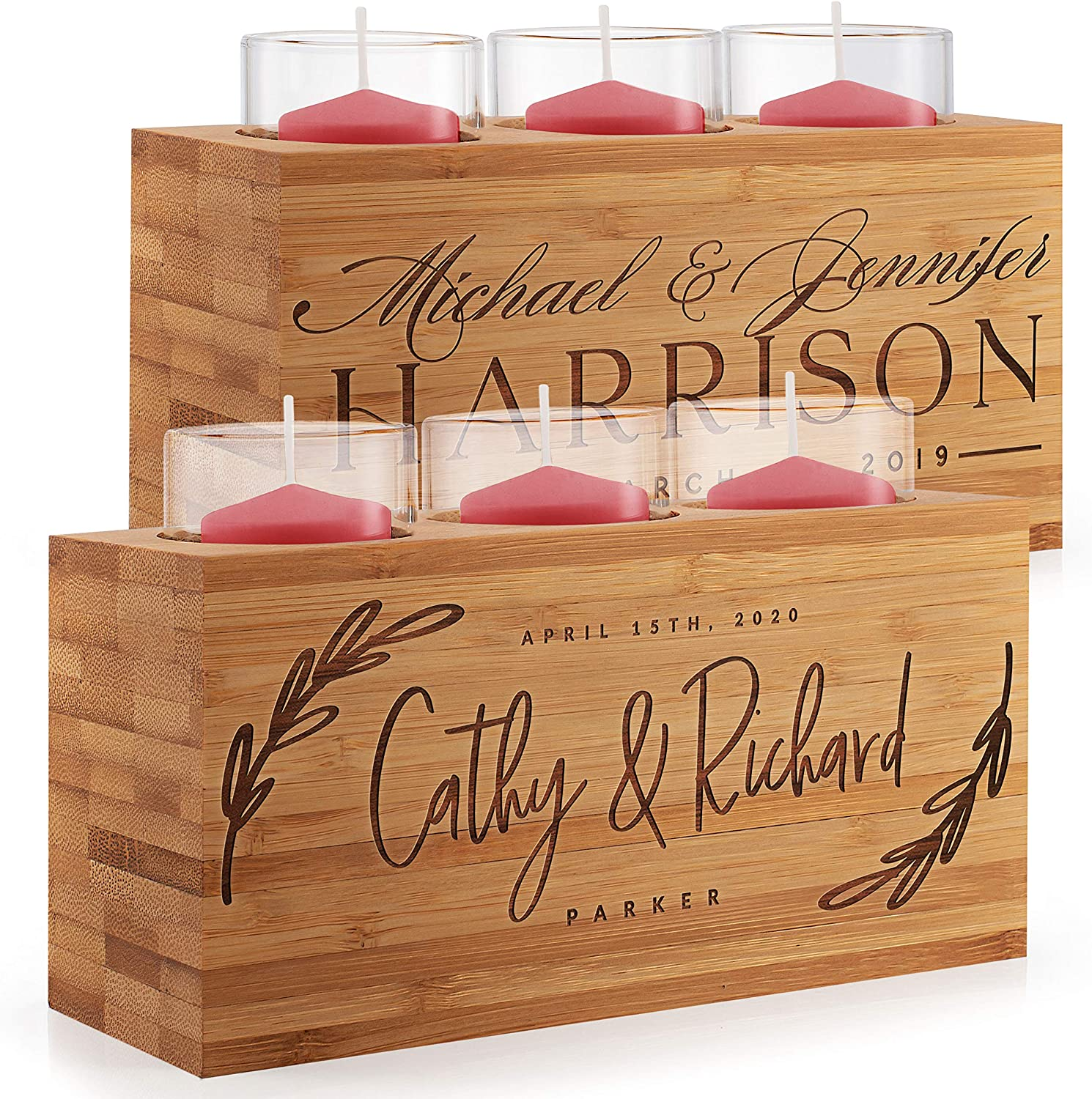 Personalized Wooden Candle Holder for Couples - 8 Design Option, Wedding Gifts - Custom Engraved Anniversary Candlestick Holders, Engagement, Valentines, Mr & Mrs Gifts, Romantic Home Decorations