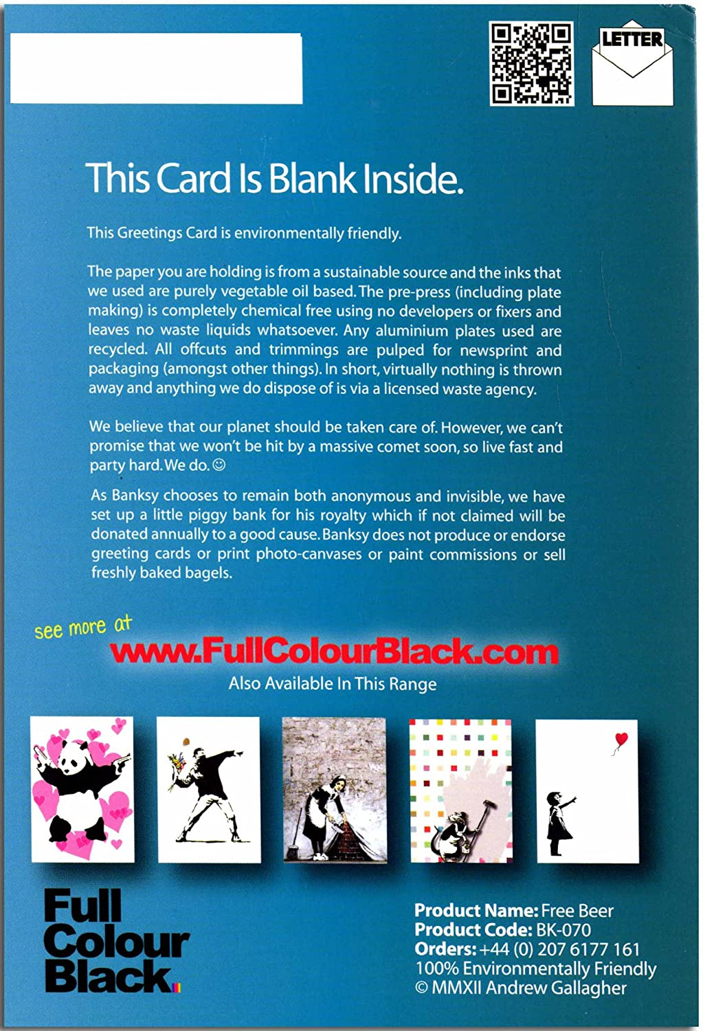 Banksy Inspired Art Open Greeting Card Free Beer 120x170mm