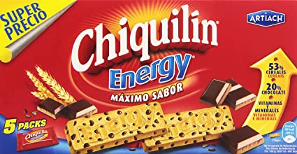 Chiquilin Energy Maximo Sabor Galleta con Gotas de Chocolate - Pack de 5 x 40 g