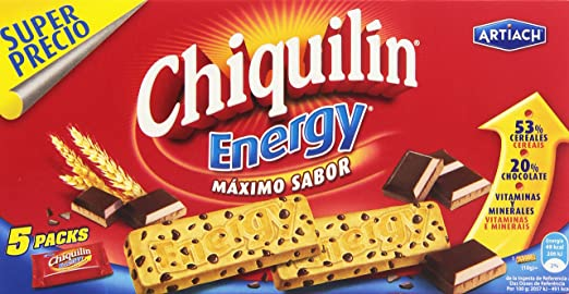 Chiquilin Energy Maximo Sabor Galleta con Gotas de Chocolate - Pack de 5 x 40 g - Total: 200 g: Amazon.es: Amazon Pantry