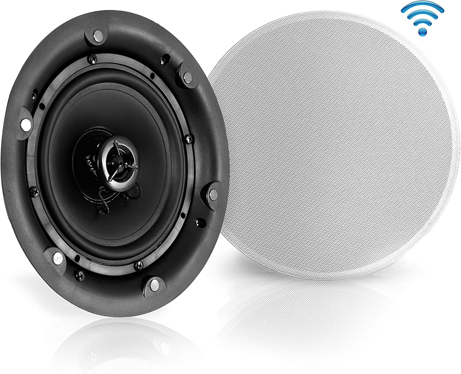 "6.5"" Ceiling Wall Mount Speakers - 2-Way Full Range Active Passive Speaker System Flush Design w/ Bluetooth Wireless Receiver 70Hz-20kHz Frequency Response 300 Watts & Magnetic Grill - Pyle PWRC65BT"