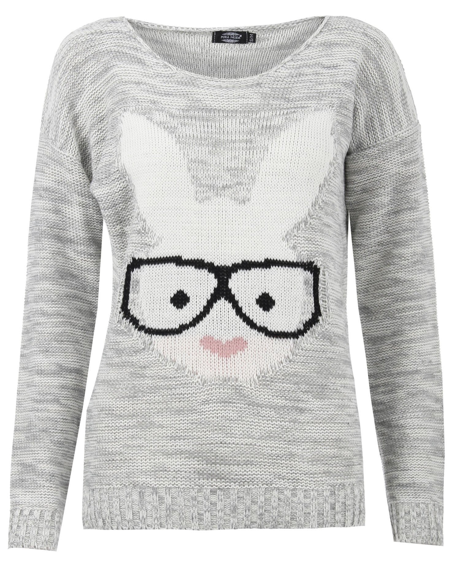 Forever Womens Long Sleeves Bunny & Fox Glasses Print Knitted Motif Jumper Top