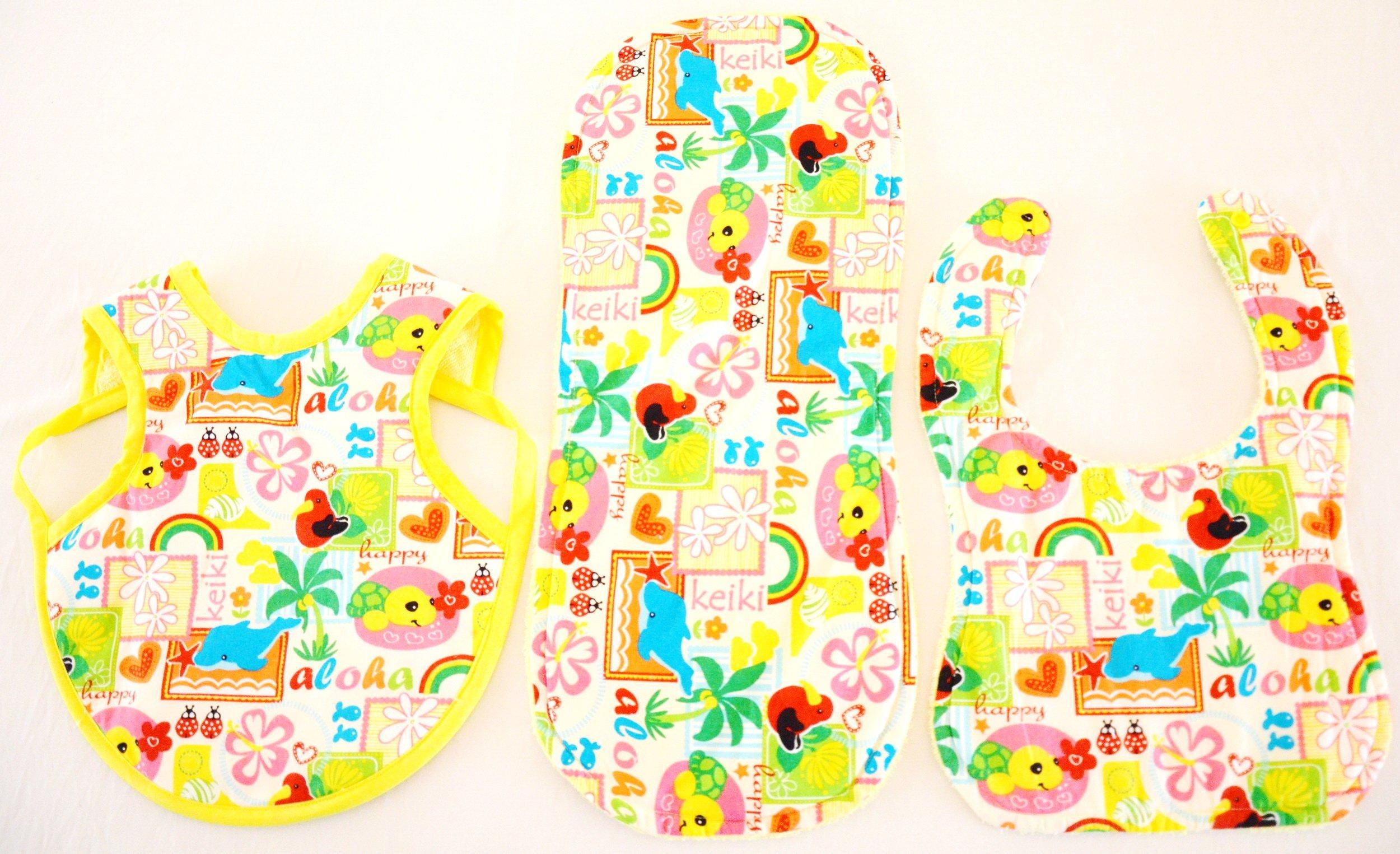 Hawaiian Bib Set (Bib, Bapron and Burp Cloth) - Keiki (L) by Baby Jolie's Closet