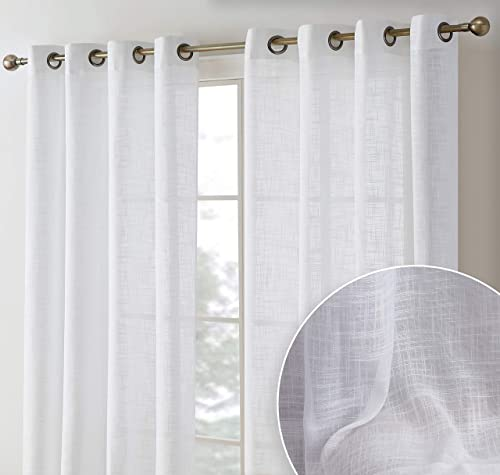HLC.ME Madison Faux Linen Textured Semi Sheer Privacy Light Filtering Transparent Window Grommet Floor Length Thick Curtains Drapery Panel