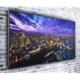 Canvas35 London Skyline Panoramic Art Print Picture Framed Xxl 55 inch x 24 inch Over 4.5 Wide x 2 Ft High Ready to Hang, Canvas, Multi-Colour,