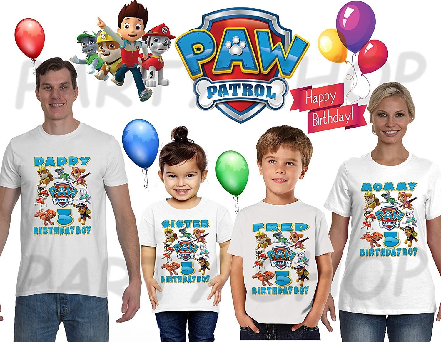 Paw Patrol BIRTHDAY SHIRT T SHIRTS PAW PATROL Birthday PartyADD Any Name And Age FAMILY Matching Shirts Boys ShirtsPaw Shirt