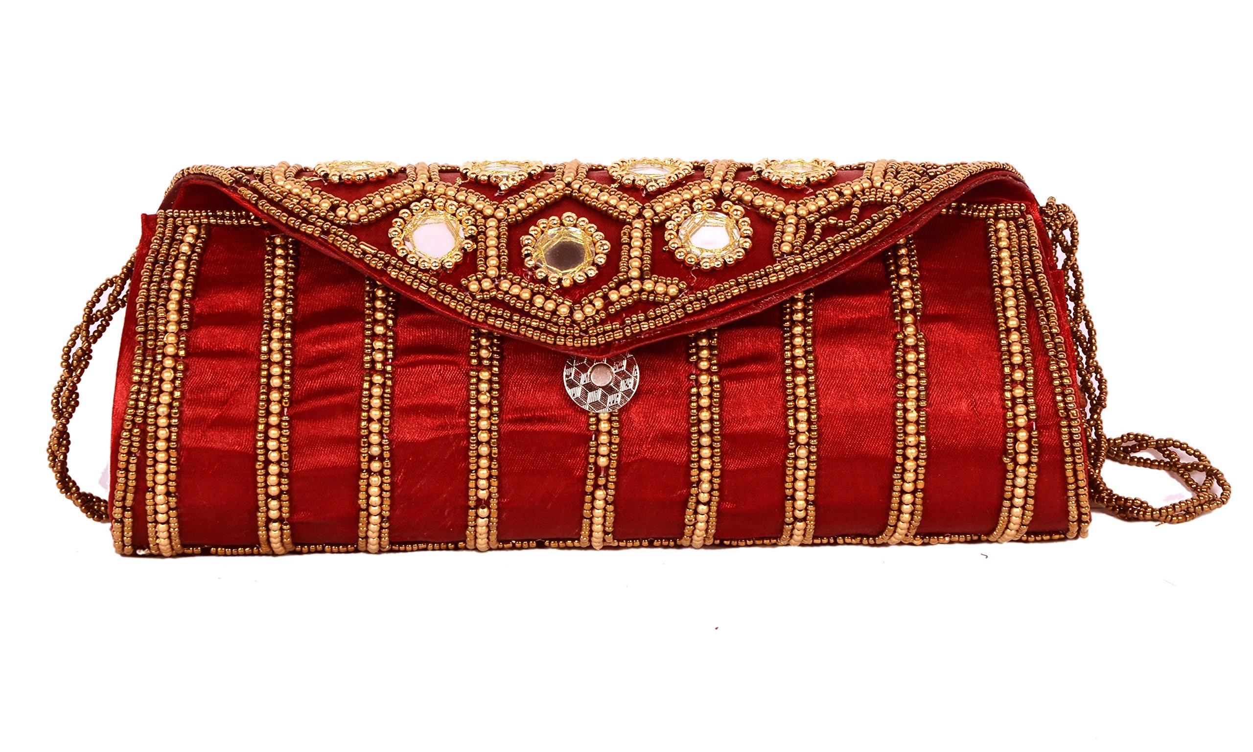 Women Sizzling Jaipuriya Style Hand-Cum-Wedding Clutch - Cherry Color by Suman Enterprises