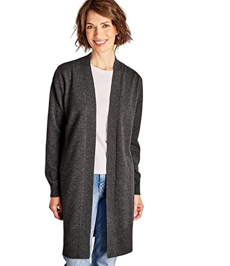 Woolovers Womens Cashmere Merino Wool Long Edge to Edge Open Front Long  Sleeve Fine Knit Knitted Cardigan Dark Charcoal 70a566c38