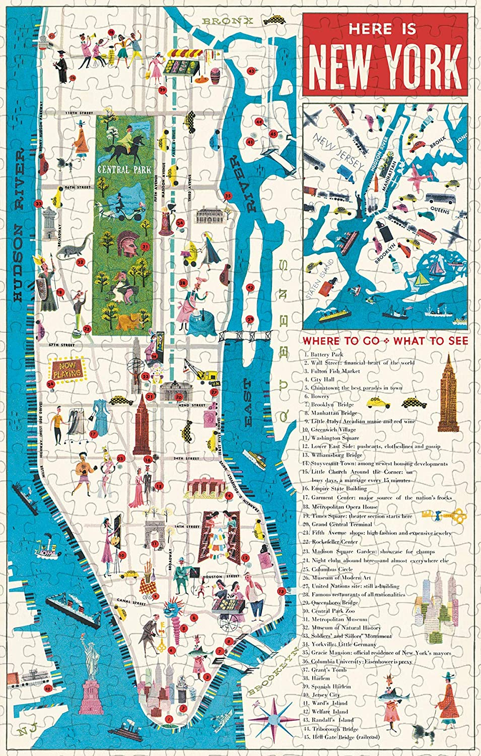Cavallini Papers /& Co Multi New York City Map 500 Piece Puzzle