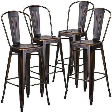 Marvelous Flash Furniture Distressed Copper Metal Indoor Barstool 4 Pack 30 Inch Creativecarmelina Interior Chair Design Creativecarmelinacom
