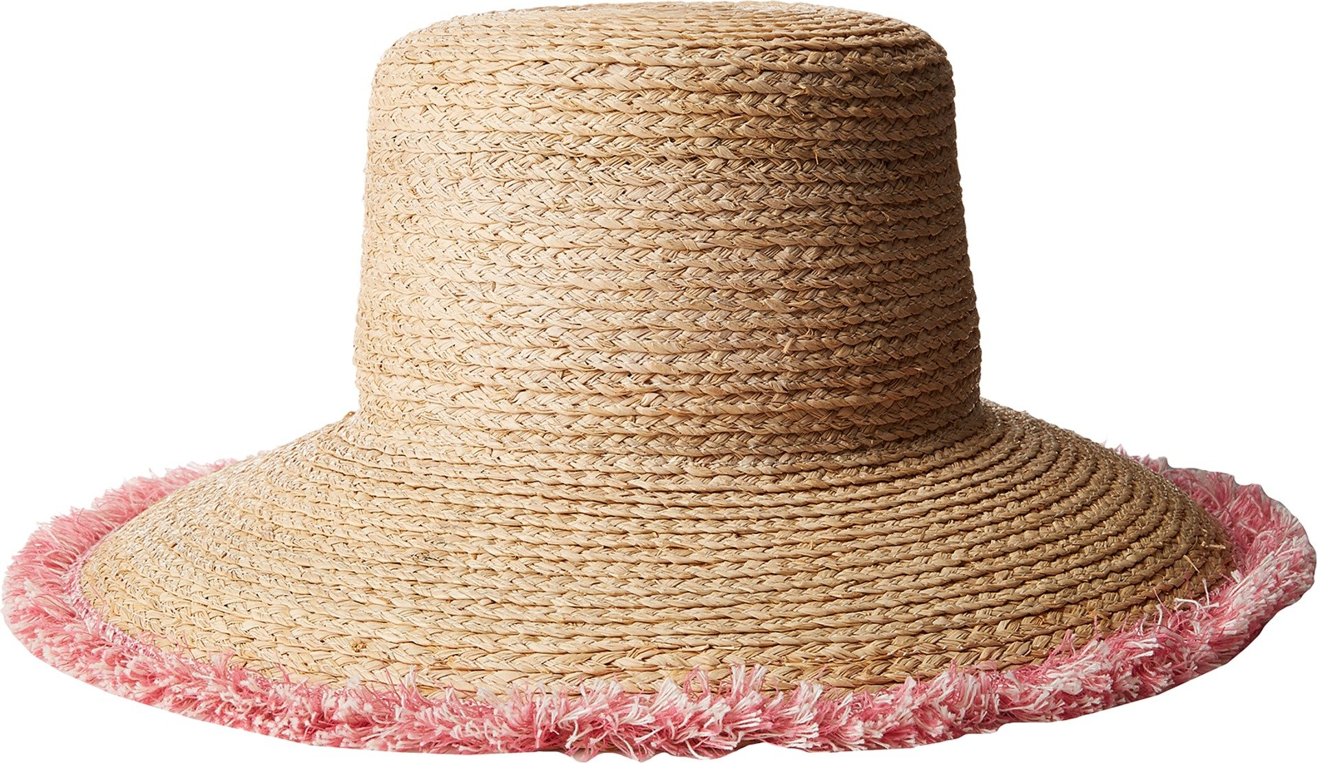 Hat Attack Women's Raffia Braid Lampshade w/Fringe Natural/Pink One Size by Hat Attack