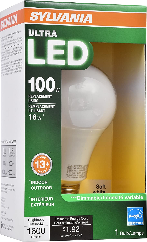 Soft White 120 V 1600 Lumens SYLVANIA General Lighting 73187 Sylvania Dimmable Led Light Bulb 16 W 2700 K CRI 80 2.38 in Dia X 4.4 in L