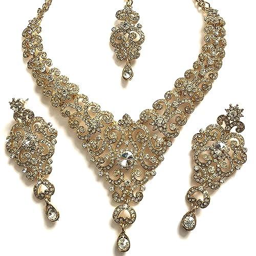 0ac890fb0dc1 chamak Oro Claro Bollywood Inspirado en la India Cristal Tachuelas ...