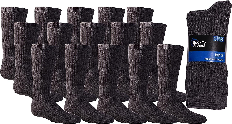 Boys Grey Ribbed Ankle Socks School Childrens Kids Plain 15 Pairs Grey Socks