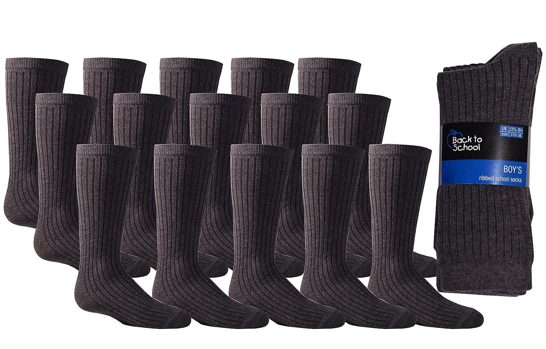 80ee15cb9125e Boys Grey Ribbed Ankle Socks School Childrens Kids Plain 15 Pairs Grey Socks:  Amazon.co.uk: Clothing