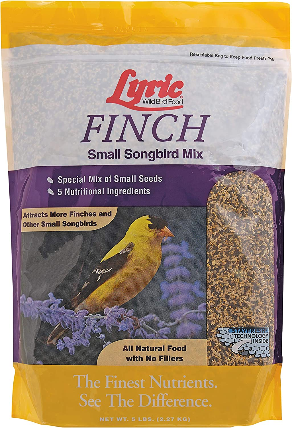 Lyric 2647469 Finch Small Songbird Wild Bird Mix, 5 lb
