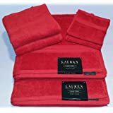 Ralph Lauren Classic 6 Piece Bath Towel Set - 100% Cotton - Red