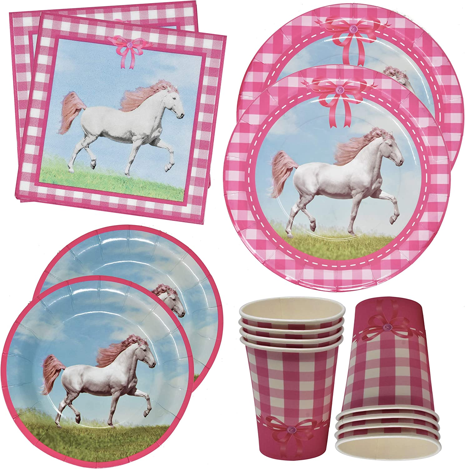 """Horse Birthday Party Supplies Includes 24 9"""" Plates 24 7"""" Plates 24 9 Oz Cups 50 Lunch Napkins for Cowgirl Decorations Girls Pink Riding Pony Theme Wester Themed Decoration"""