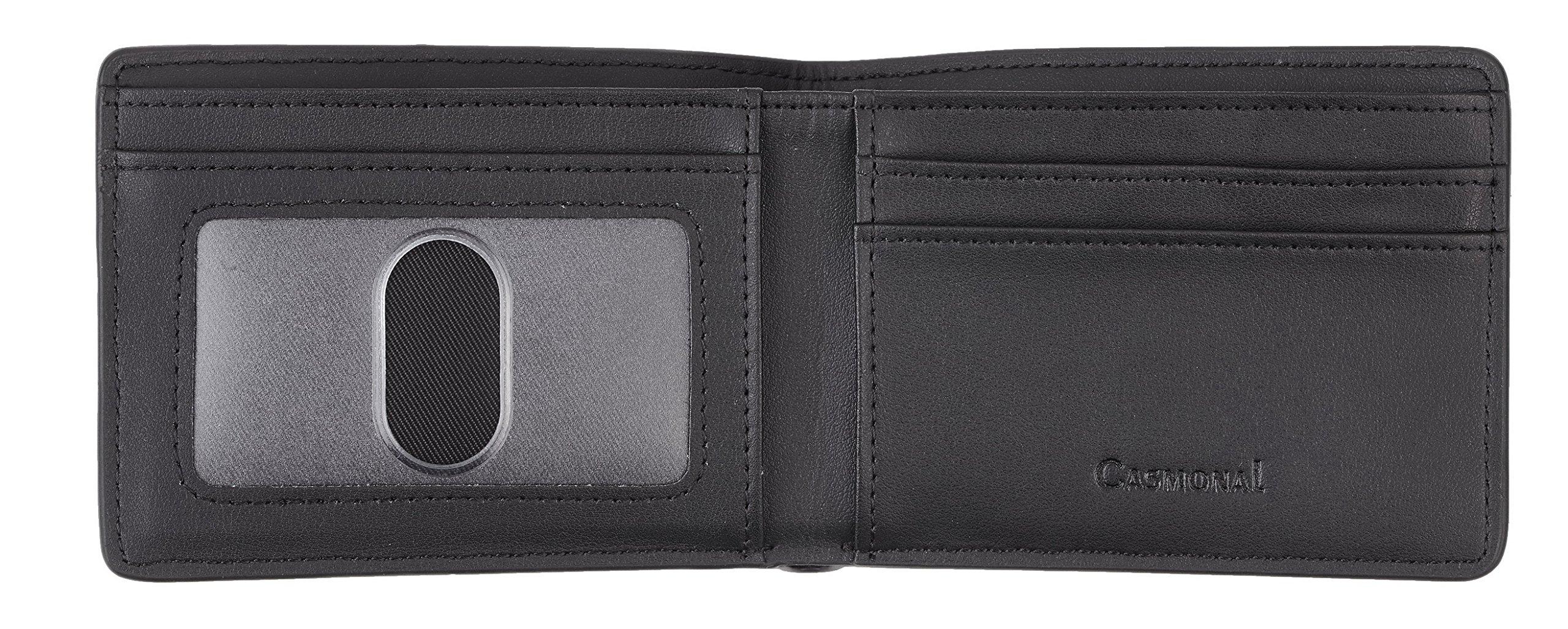 Casmonal Mens Leather Wallet Slim Front Pocket Wallet Billfold RFID Blocking (carbon fiber leather black) by Casmonal (Image #4)