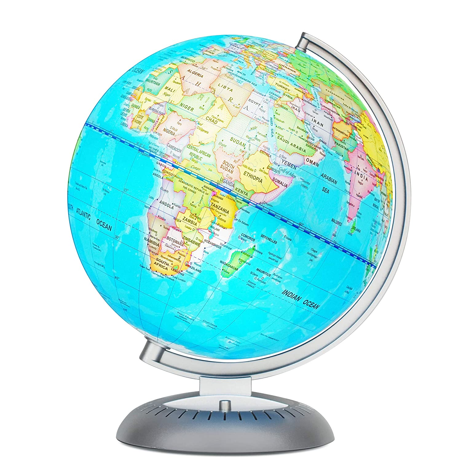 Illuminated World Globe for Kids with Stand – Built-in LED Light Illuminates for Night View