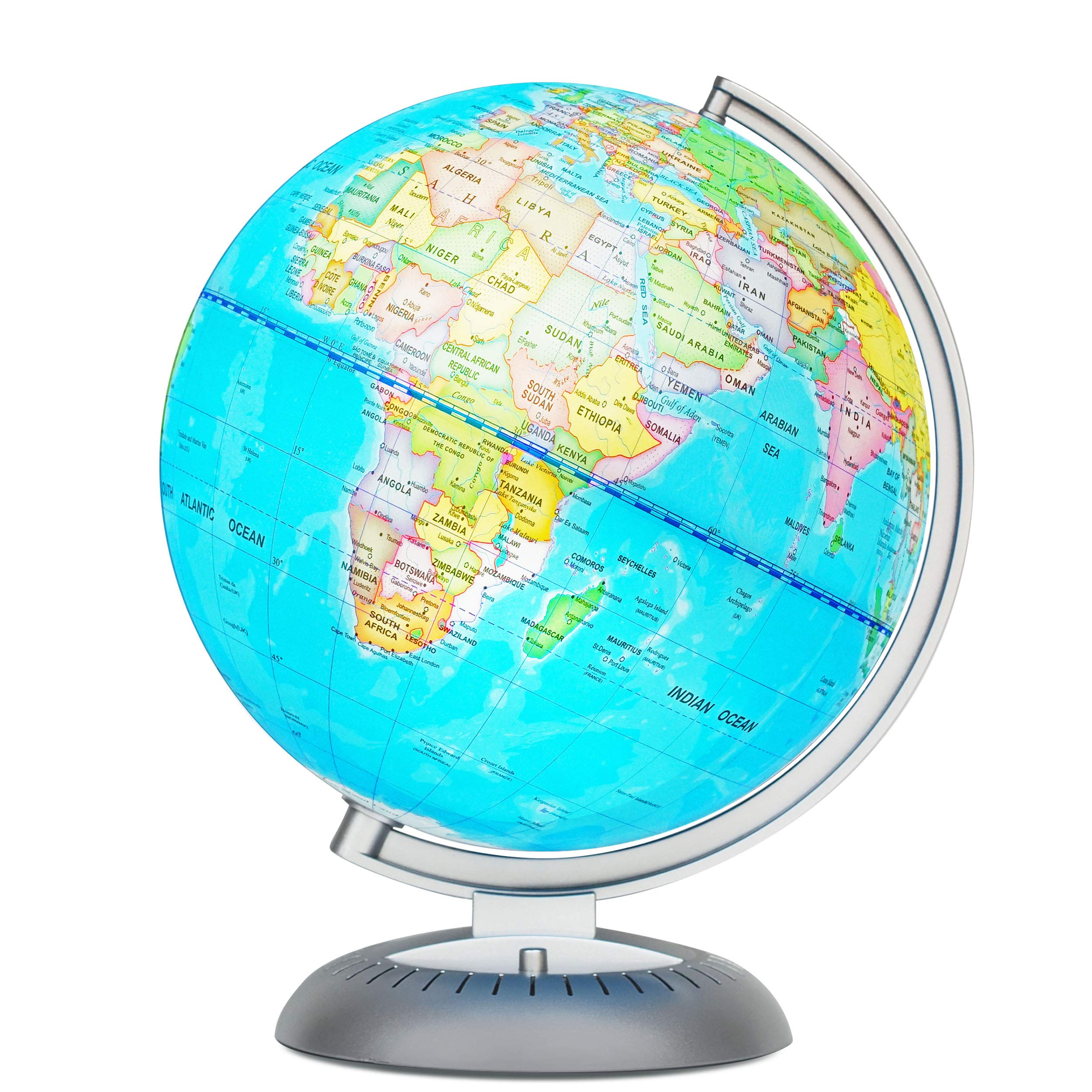 Illuminated World Globe for Kids with Stand – Built-in LED Light Illuminates for Night View – Colorful, Easy-Read Labels of Continents, Countries, Capitals & Natural Wonders, 8''
