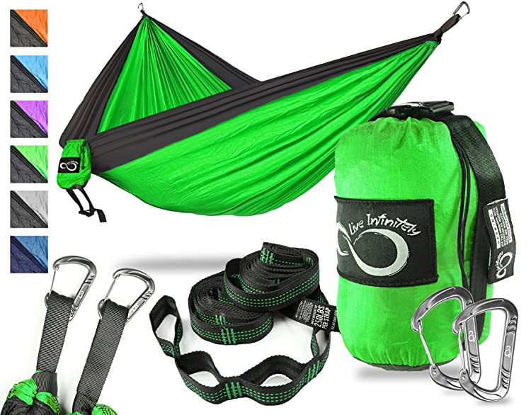Double Camping Hammock- Best Lightweight & Portable Two Person Hammock Set –Aluminum Wiregate Carabiners