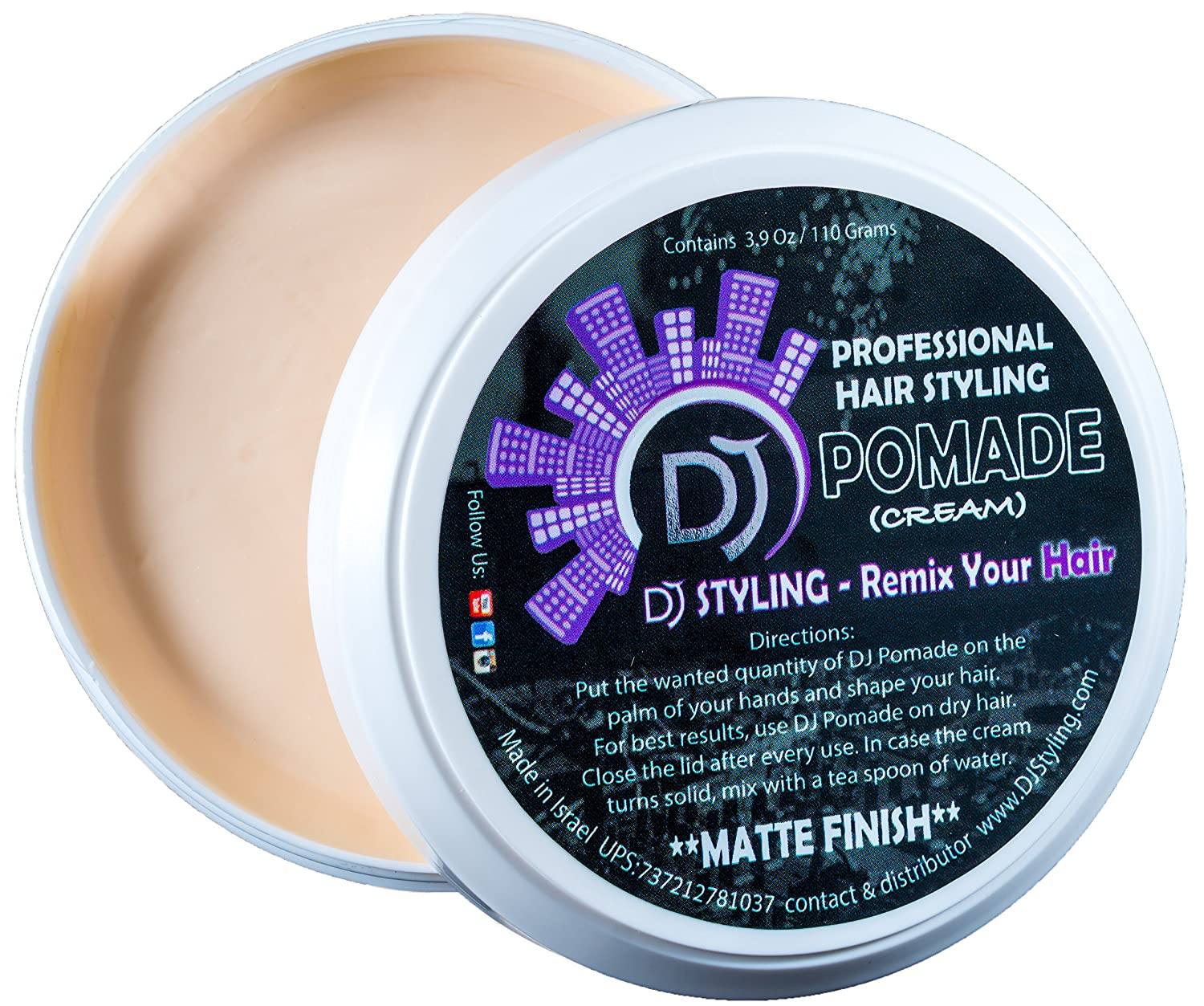 DJ Pomade - Hair Styling Cream - Matte Look - The Best Hair Clay for Elastic and Strong Hold - Professional Formula 3.9 Oz by D.J Hair Styling Shahar Skury Shivuk