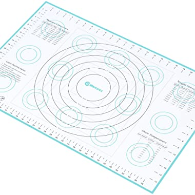 Marcorex Extra-Large Silicone Pastry Mat with Measurements and Conversion Charts, Non-Stick Non-Slip, Fondant Mat, Cookie Rolling Dough Mat (X-Large (26  x 17 ), Blue)