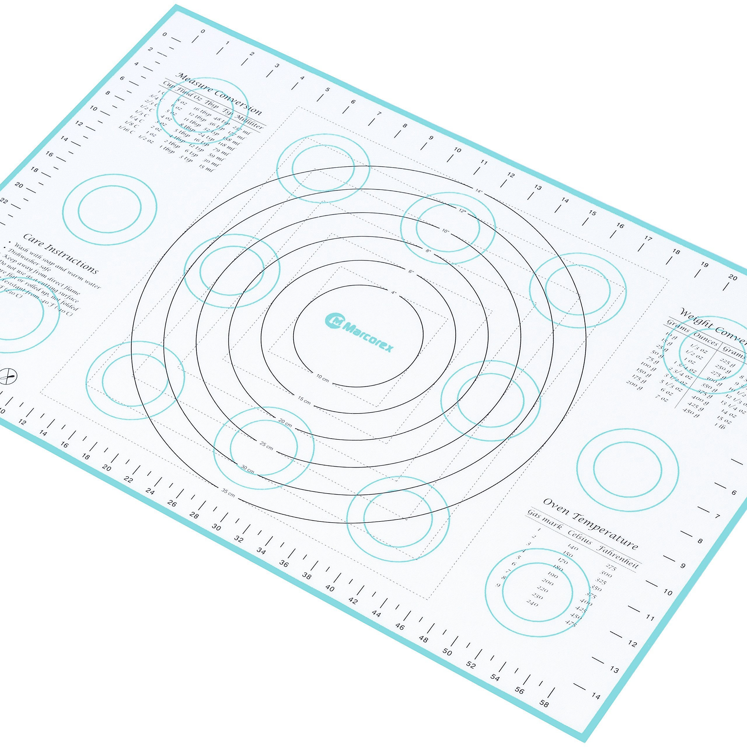 Marcorex Extra-Large Silicone Pastry Mat with Measurements and Conversion Charts, Non-Stick Non-Slip, Fondant Mat, Cookie Rolling Dough Mat (X-Large (26'' x 17''), Blue)