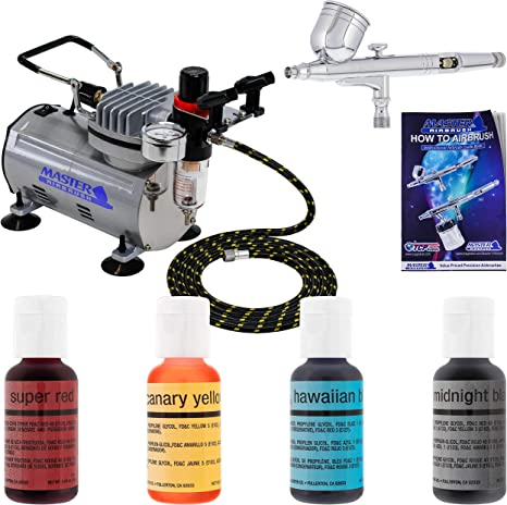 Airbrush and Mini Compressor Cake Decorating Kit Including 4 x AirBrush colours