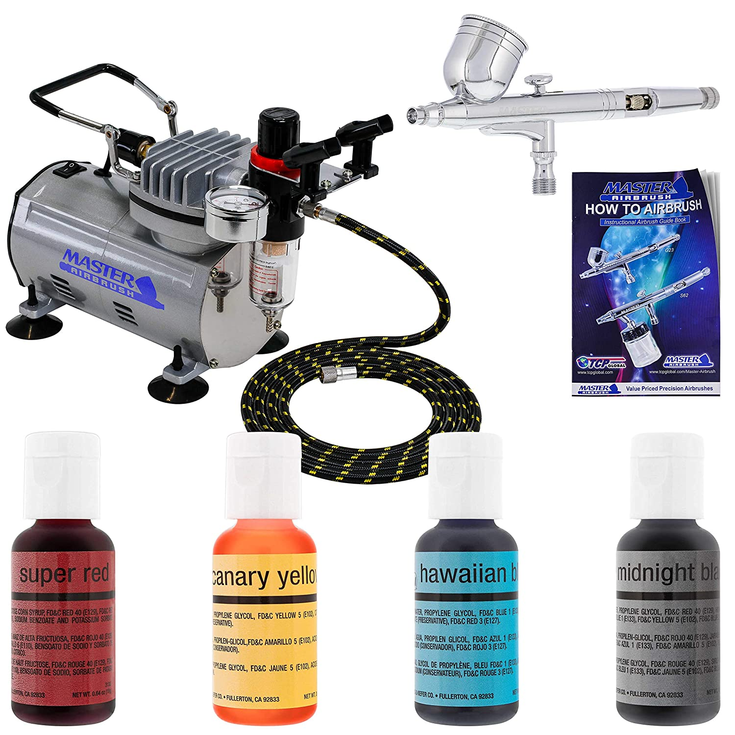 Pro Master Airbrush Cake Decorating Airbrushing System Kit with a 4 Color  Chefmaster Food Coloring Set - G22 Gravity Feed Airbrush, Air Compressor,  ...