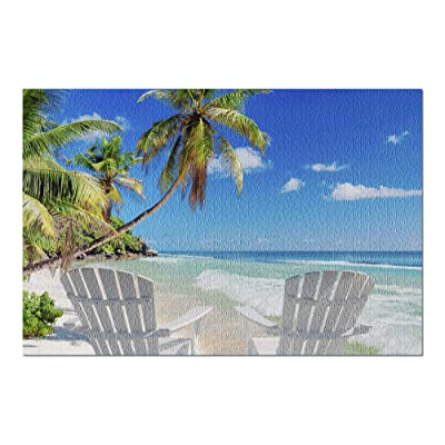 Beach Chairs on Sandy Beach with Palm and Turquoise Sea 9025365 (Premium 1000 Piece Jigsaw Puzzle for Adults, 20x30, Made in USA!): Toys & Games