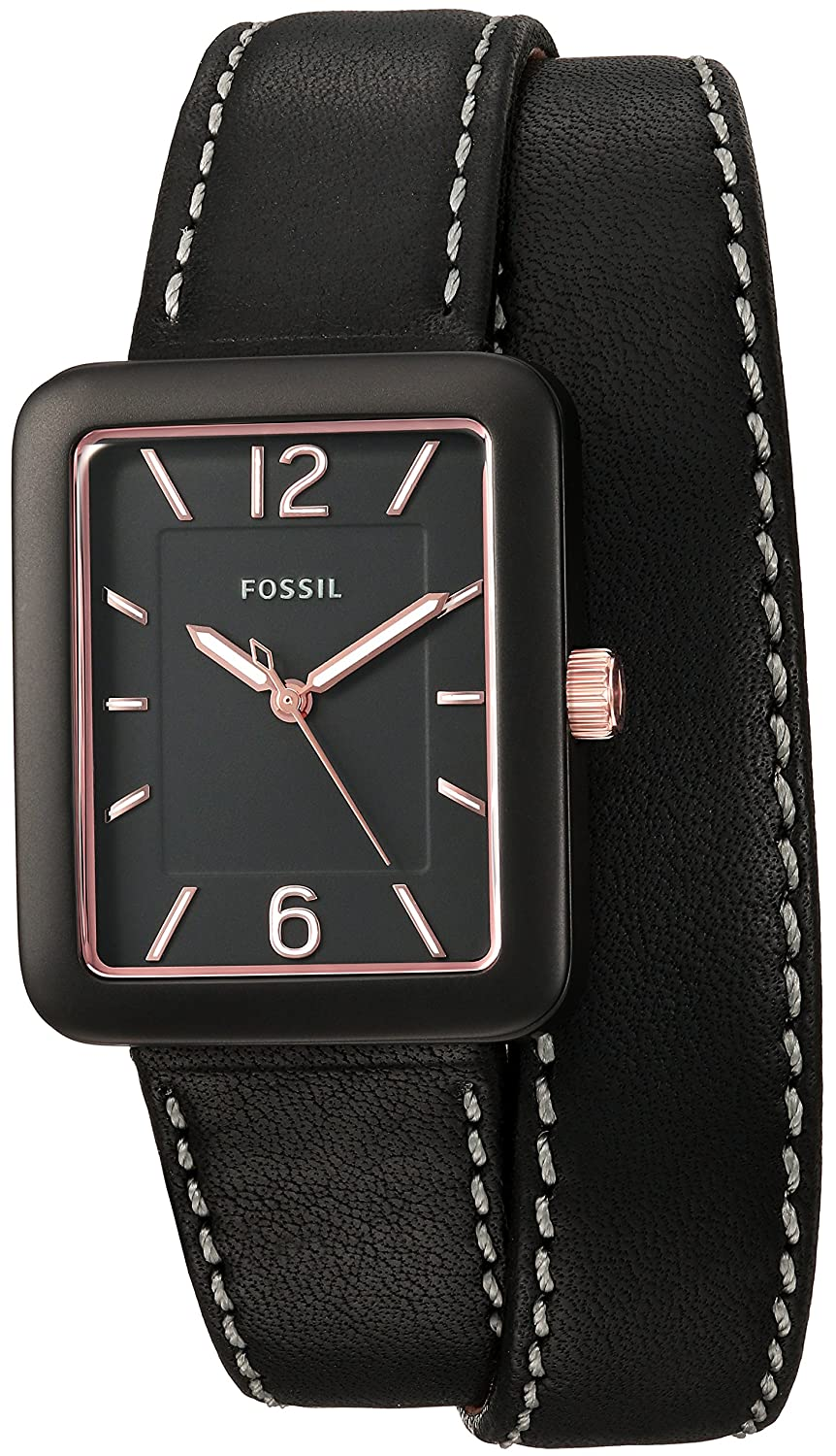 Fossil Machine 3hand Date Leather Watch Boating T Es3707 Jacqueline Gray Rose Gold Womens Es4193 Atwater Three Hand Black Wrap Amazonca Watches