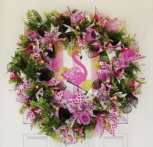 Amazon Com Florida Flamingo Summer Deco Mesh Front Door Wreath