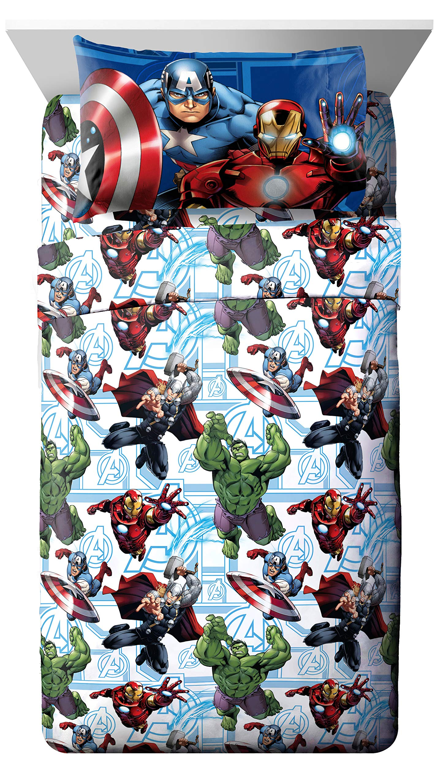 Marvel Avengers Heroic Age Blue/White 3 Piece Twin Sheet Set with Captain America, Thor, Ironman & Hulk by Jay Franco