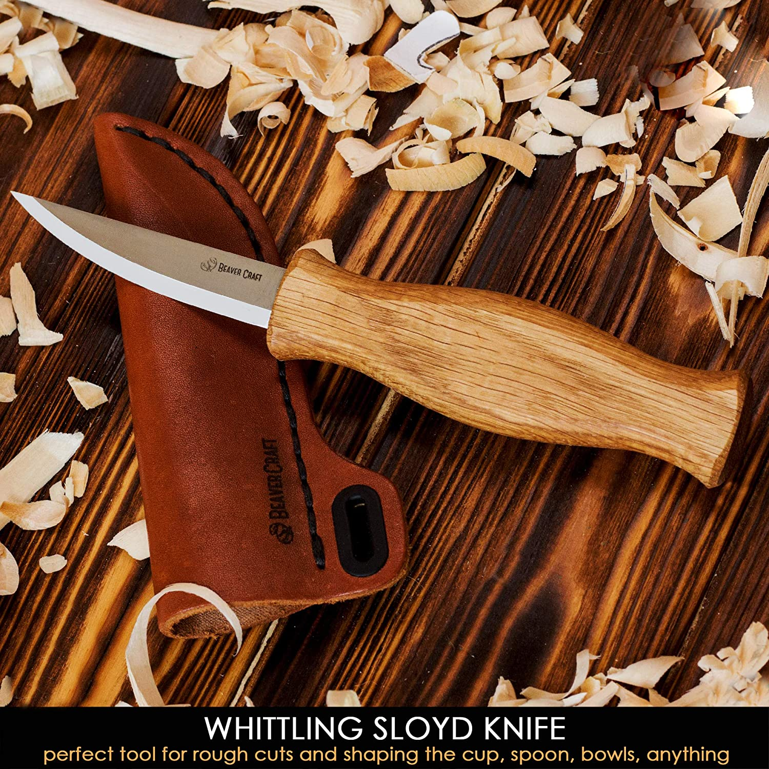 BeaverCraft Sloyd Knife with Leather Sheath for Whittling and Roughing for Beginners