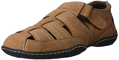 6e6cc91c17b9 Lee Cooper Men s Camel Leather Sandals and Floaters - 7 UK India (41 EU