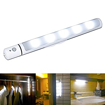Amazon.com ECHENG Motion Sensor Night Light Battery Powered Wireless LED Motion sensor Light Bar With Magnetic Strip 5 LED DIY Stick On Anywhere Indoors ...  sc 1 st  Amazon.com : battery operated bathroom lights - www.canuckmediamonitor.org