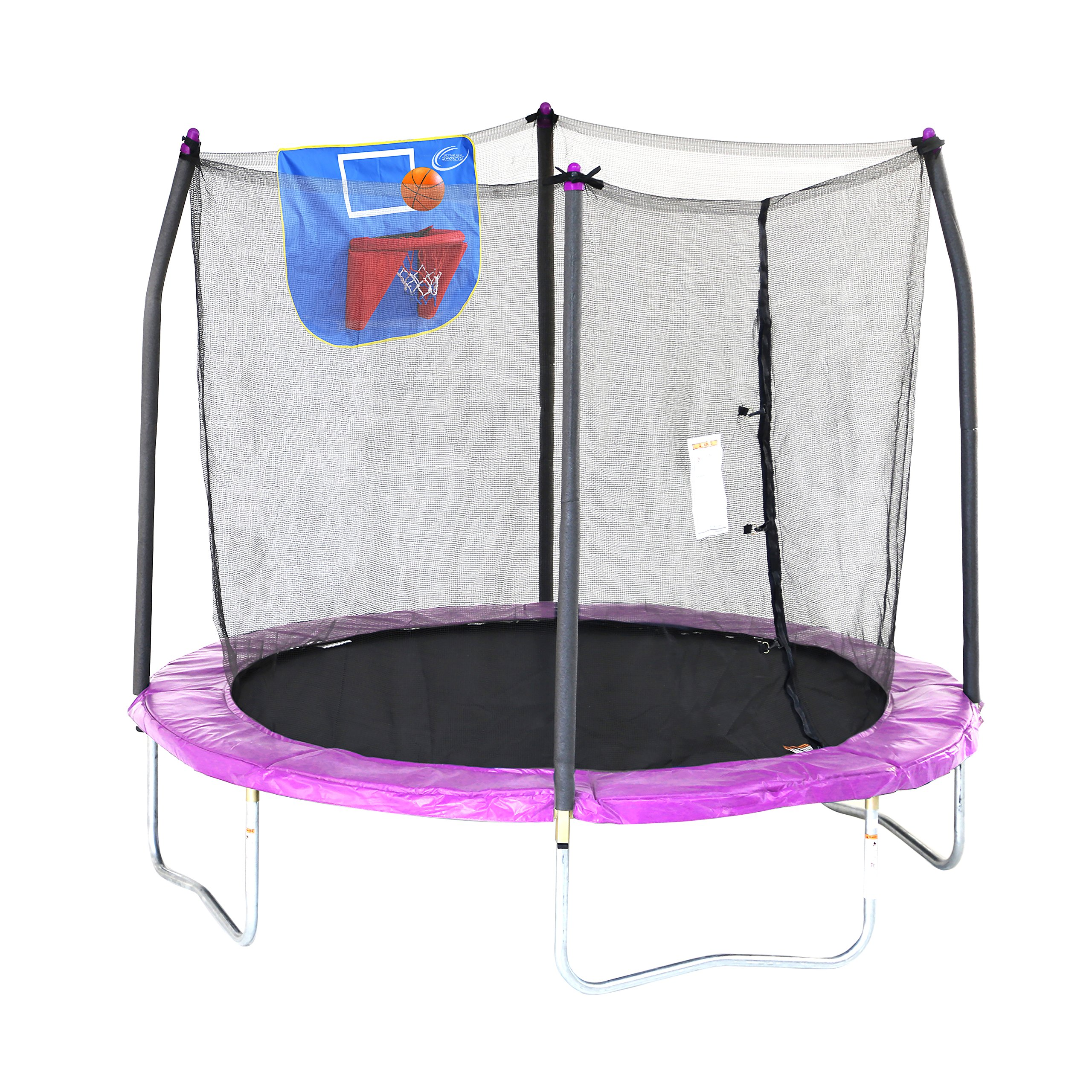 Skywalker Trampolines 8-Feet Jump N' Dunk Trampoline with Safety Enclosure and Basketball Hoop by Skywalker Trampolines