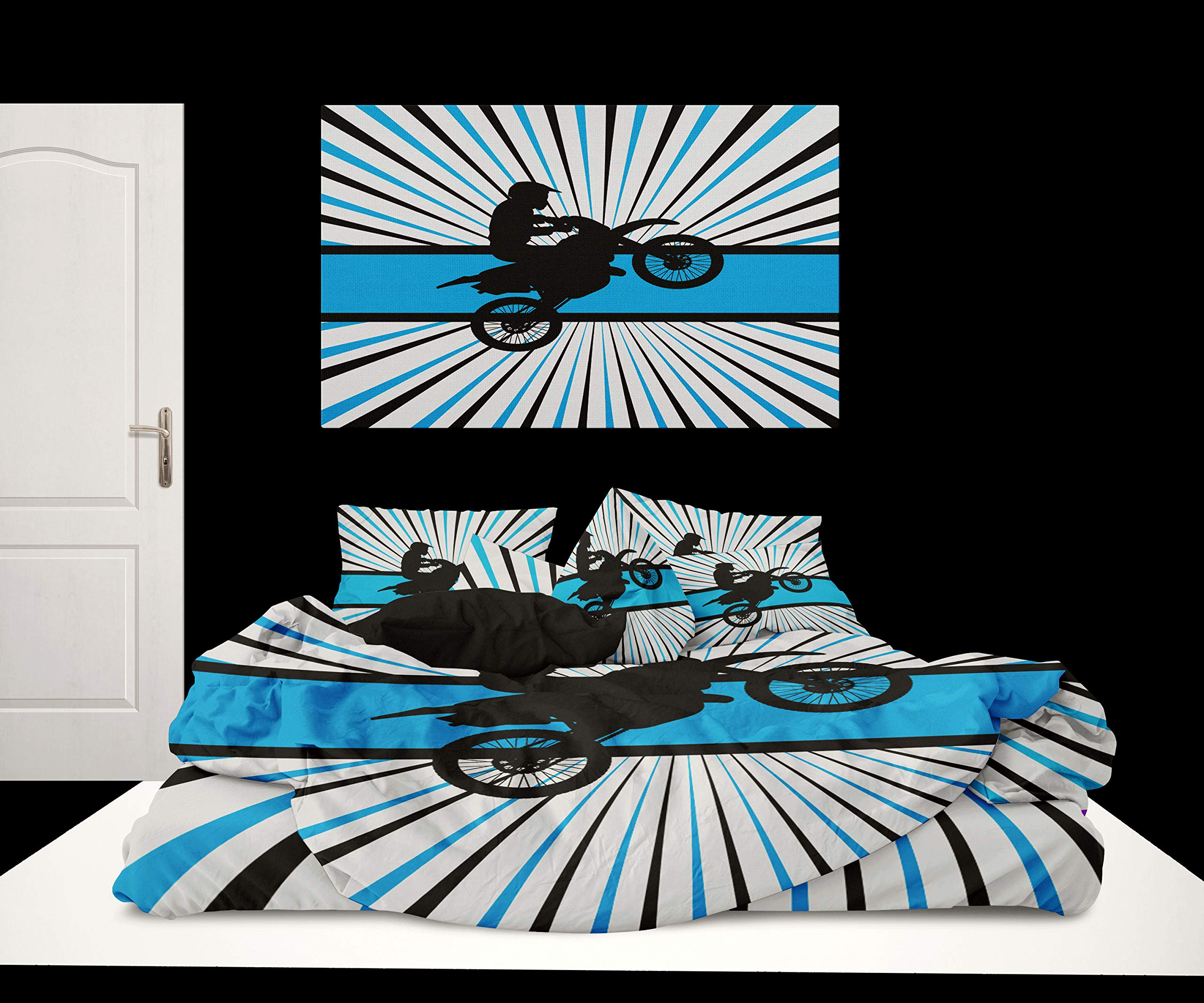 CDM product Extremely Stoked USA Blue Motocross Bedding Black and White small thumbnail image