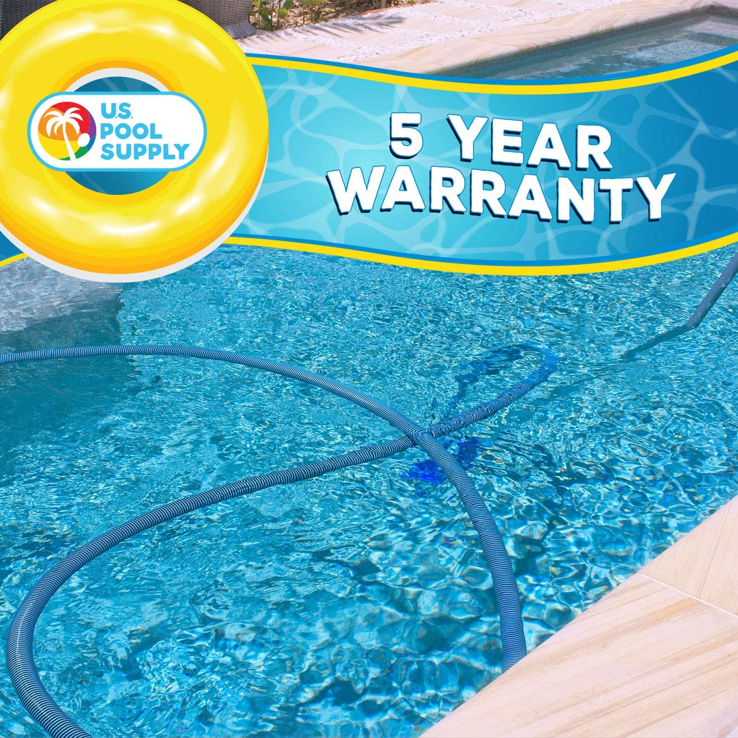 """U.S. Pool Supply 1-1/2"""" x 36 Foot Professional Heavy Duty Spiral Wound Swimming Pool Vacuum Hose with Swivel Cuff : Garden & Outdoor"""