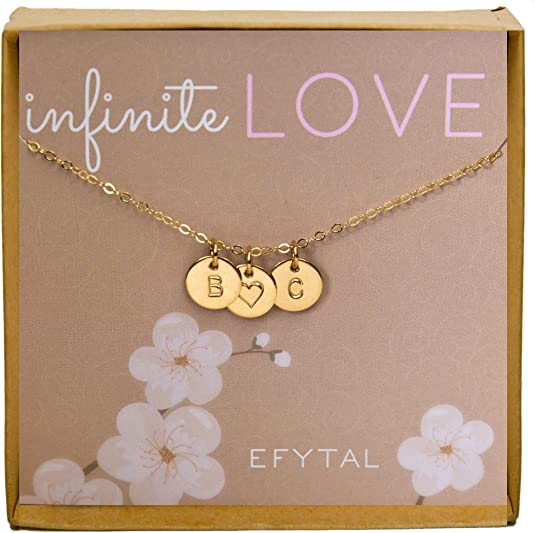 Gold Filled Initial and Heart Necklace