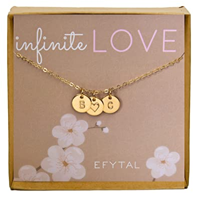a38f4d66e54b6 EFYTAL Valentines Day Gift For Girlfriend/Wife, Cute and Romantic Gold  Filled Initial and Heart Necklace For Her