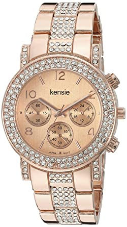 Kensie Womens Quartz Metal and Alloy Casual Watch, Color:Rose Gold-Toned (