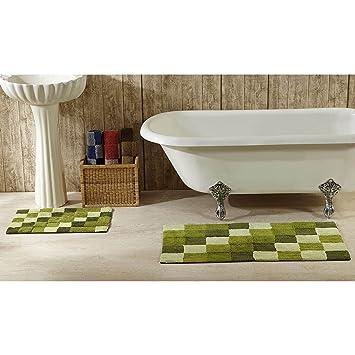 UK 2 Teiliges Grün Grau Übergroße Geometrische Bad Teppich Set, Oversize  Schwarz Kariert Karo