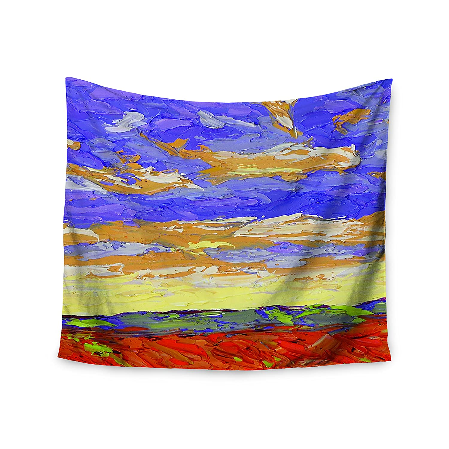 Kess InHouse Jeff Ferst After The Storm Blue Yellow Wall Tapestry 68 X 80